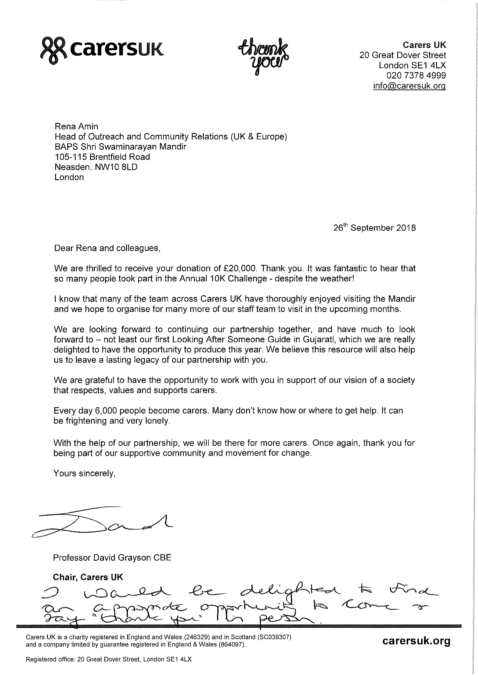 Letter from Carers UK - 26 Sept 2018